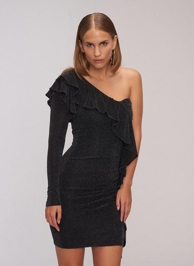 People By Fabrika Tek Omuz Parlak Elbise Siyah